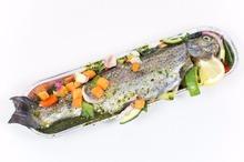 Gevulde forel met groente en Franse marinade